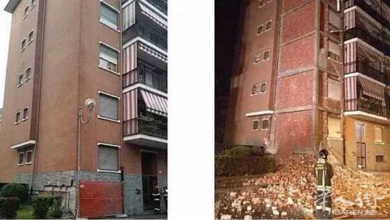 都灵省一居民楼外墙全部垮塌!