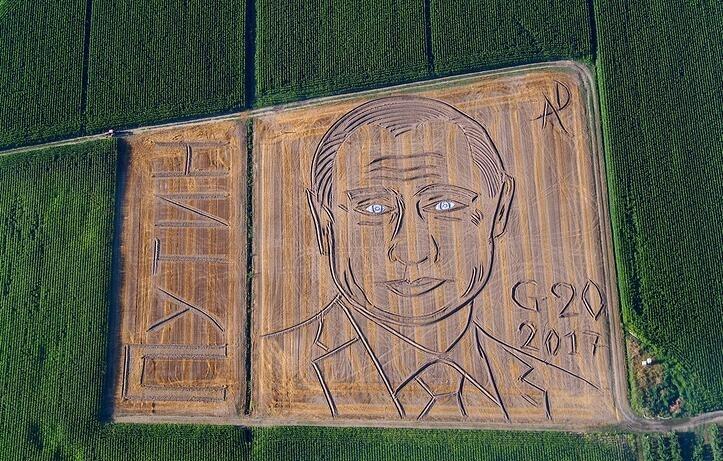 意大利农民用拖拉机在田地创作巨幅普京肖像