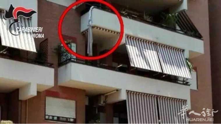意大利笨贼想从阳台逃跑, 结果从3楼摔下