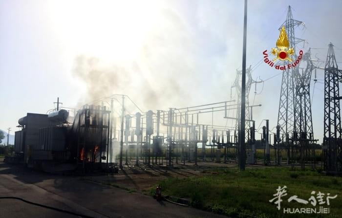 (组图)天气炎热导致维琴察一台变压器漏油发生火灾