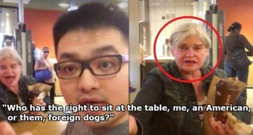 华人携女友在美吃快餐 遭美国老太言语歧视