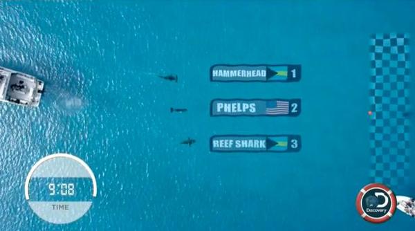 """""""飞鱼""""菲尔普斯对战大白鲨 两秒之差落败"""