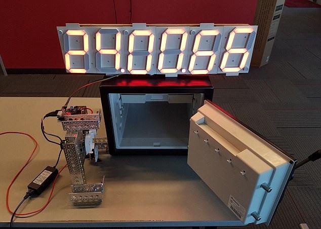 机器人表演开保险柜绝技 半小时破译密码